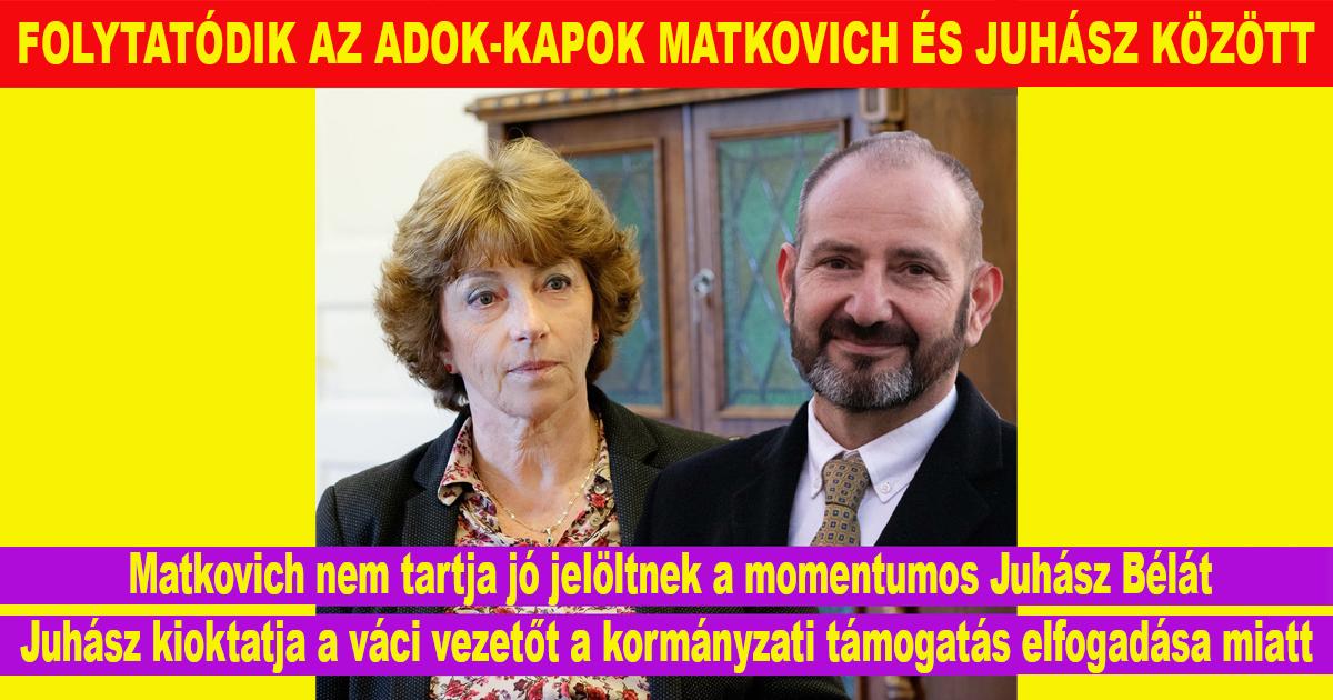FOLYTATÓDIK AZ ADOK-KAPOK MATKOVICH ÉS JUHÁSZ KÖZÖTT